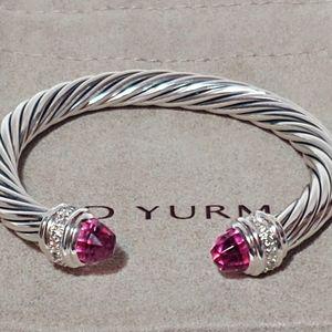 David Yurman Pink tourmaline 7mm cable bracelet S